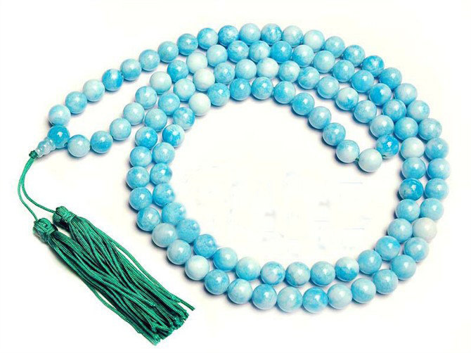 Free Shipping - Tibetan Buddhism Natural sky Blue Jade Mala meditation yoga 108