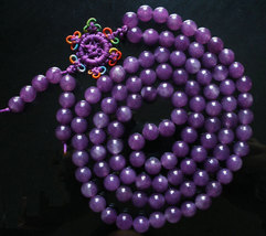 Free Shipping - NATURAL  Amethyst / pure Dark Purple  Meditation Yoga 108 Prayer - $35.99