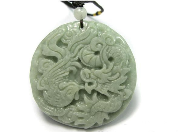 Free Shipping -Natural Green jade carved Dragon Phoenix  Round Shape Jade Pendan