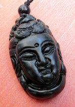 Free shipping - Good Luck Natural black Jadeite Jade carved Buddhist Bodhisattva - $20.00