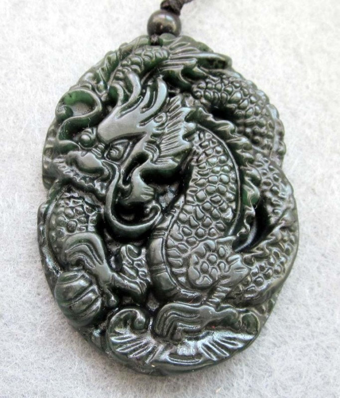 Free Shipping -  2012 Year Good luck Amulet  Natural black Jadeite Jade carved s