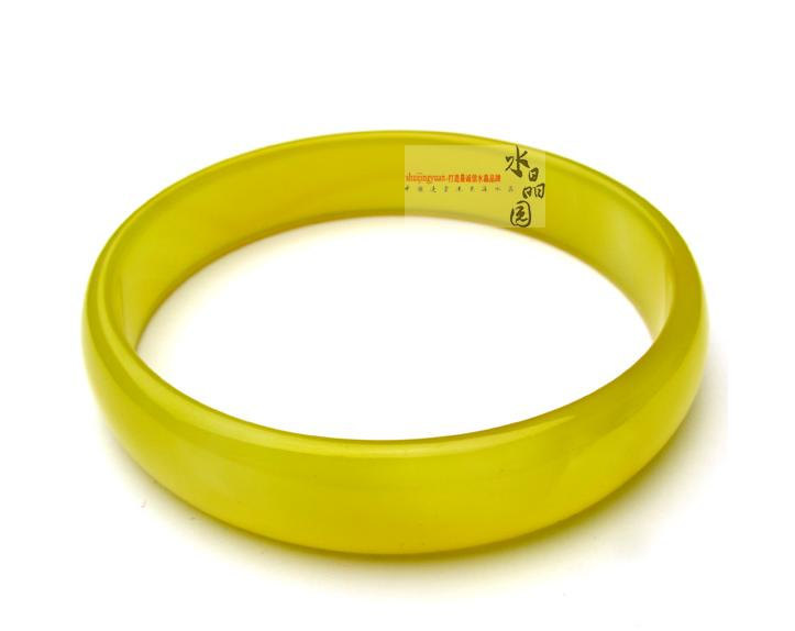 Free Shipping -  Elegant  Natural yellow  Jadeite Jade charm Round  Bangle
