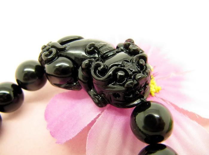 Free Shipping -  good luck natural black agate  '' PI YAO'' Prayer Beads charm b