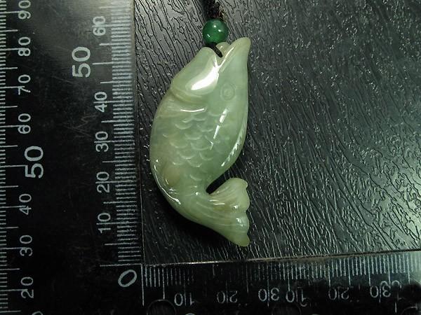 Free Shipping - auspicious Natural Green Jadeite Jade  FISH   pendant / charm