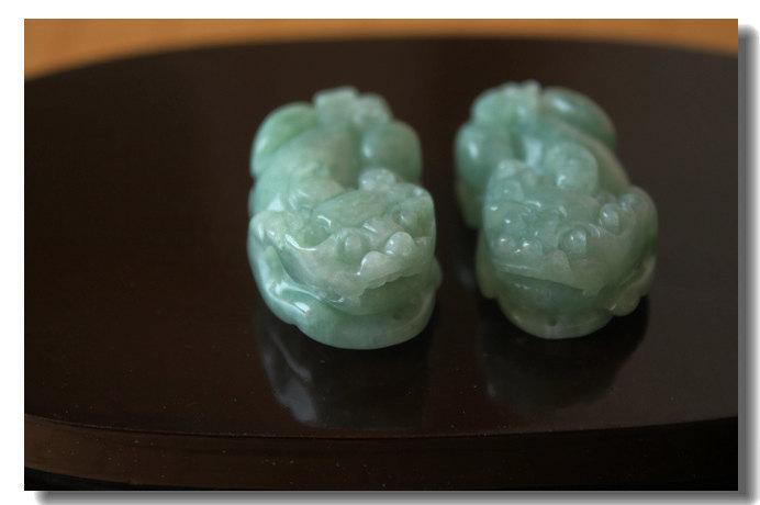 Free Shipping - good luck Burma Natural green Jadeite Jade carved '' PI YAO '' c