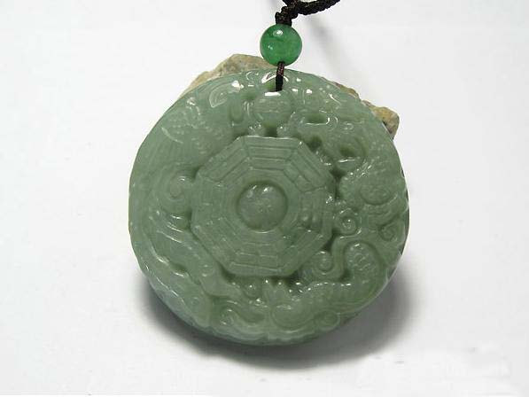Natural green Jadeite Jade carved dragon and Phoenix Round