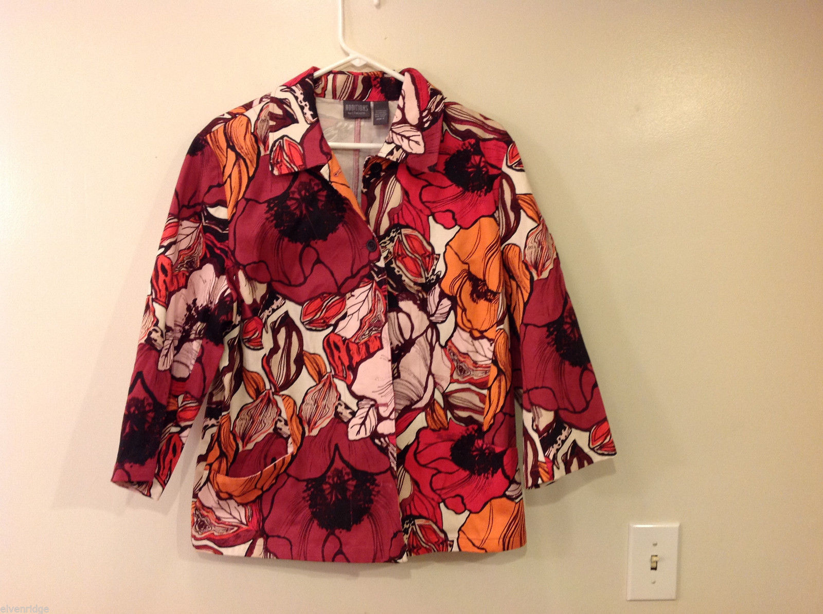 Additions by Chico's Womens' Size 3 Floral Print Shirt in Red Orange Black White