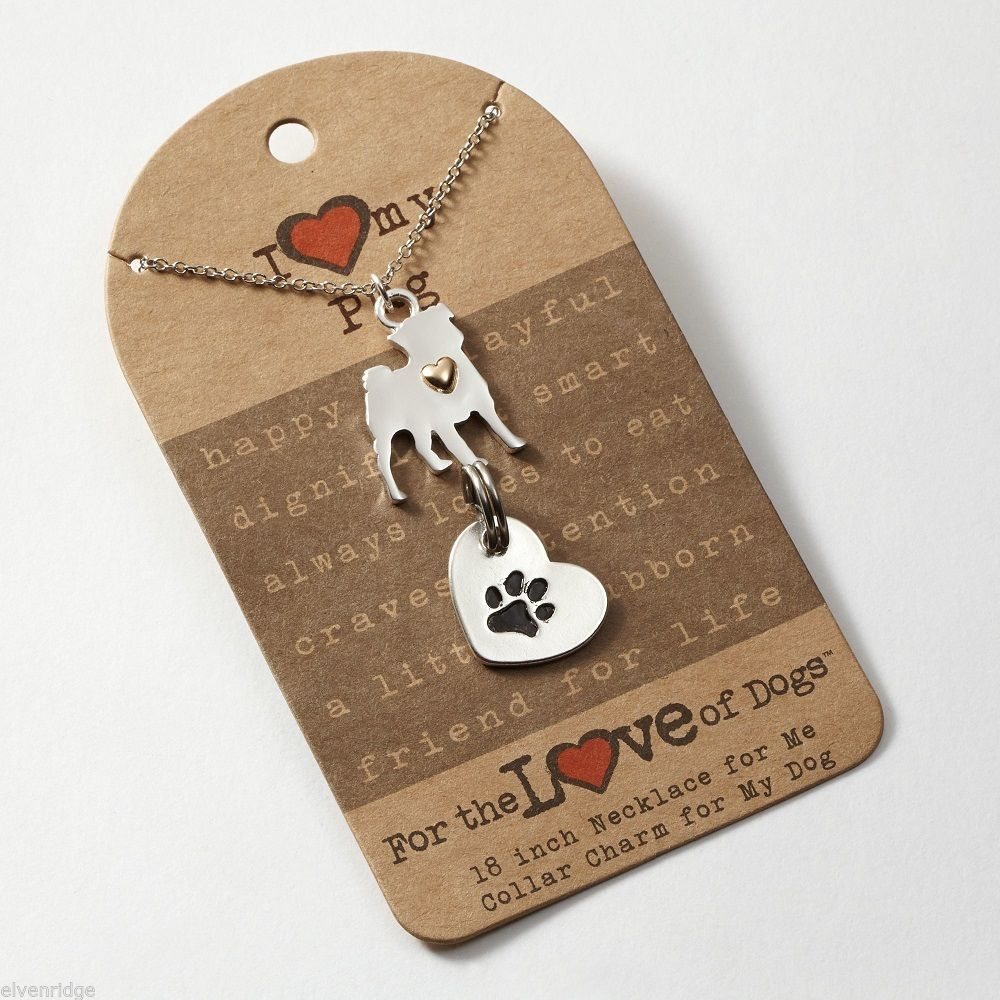Pug   Necklace w gold heart w charm for your dog's collar SET
