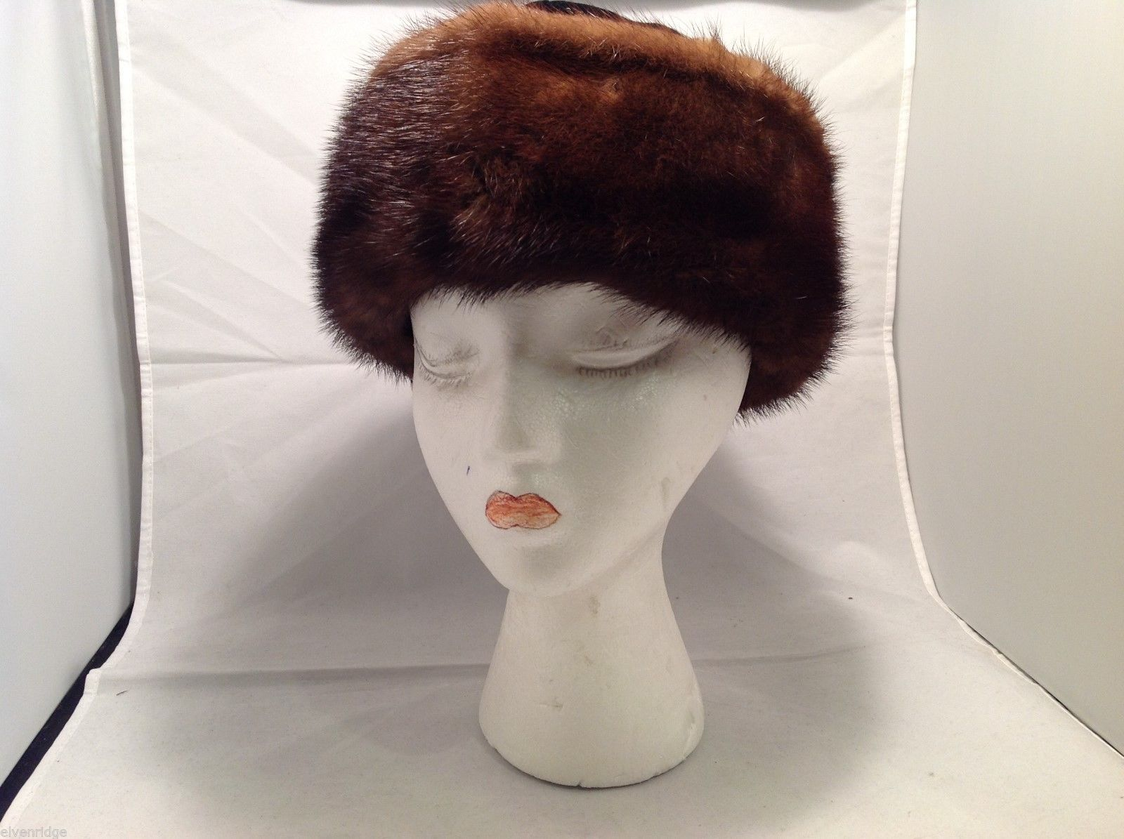 Womens Black Velvet with Mink trim Hat
