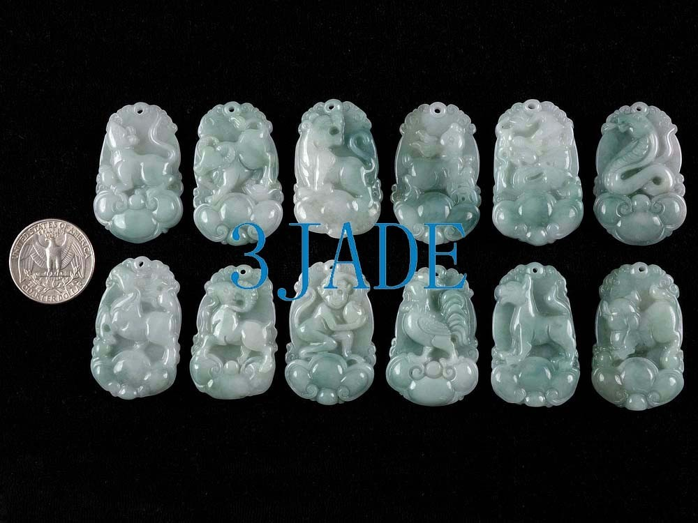 Natural Green jade Carved 12 Zodiac Jade Pendants