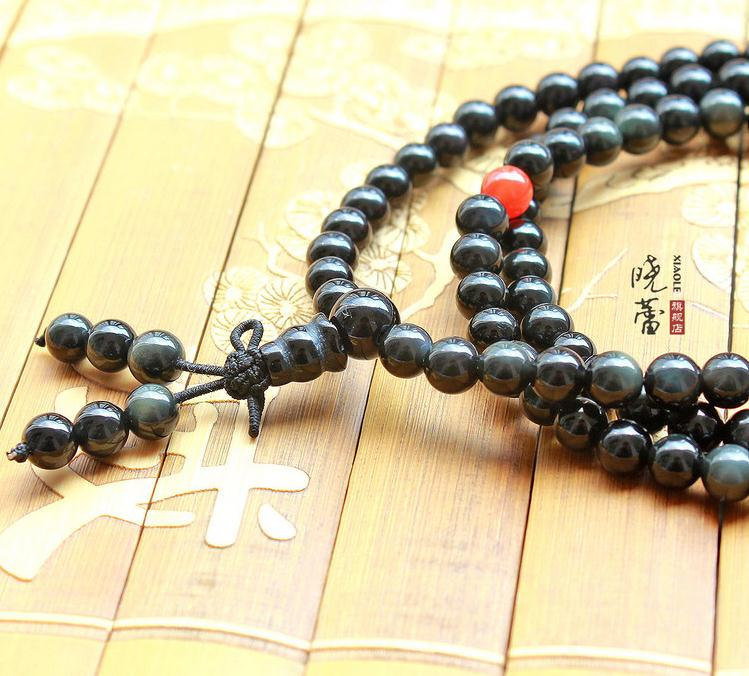 Free Shipping - Tibetan Buddhism Natural Black Obsidian Mala with Red agate / Ca