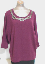Alfani Womens Medium Burgandy Dolman Sleeve Beaded Scoop Neck Sweater - $13.99