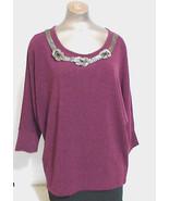 Alfani Womens Medium Burgandy Dolman Sleeve Beaded Scoop Neck Sweater - $18.76