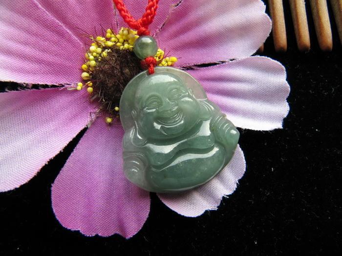Free Shipping - GOOD luck Amulet Natural DARK green Laughing Buddha Jadeite Jade