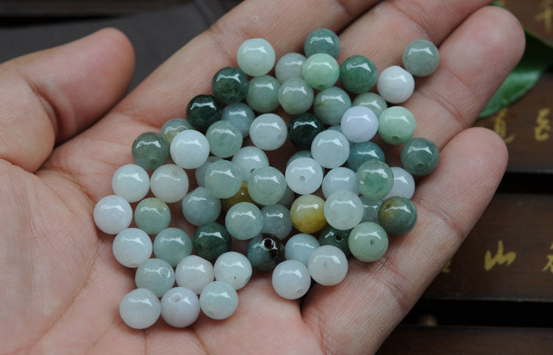 Free Shipping -   8mm Jadeite Jade Colorful beads  Grade AAA  Natural Jade