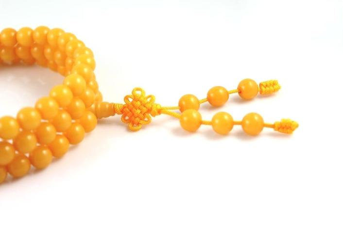 Free Shipping - Tibetan Buddhist natural yellow Agate / Carnelian 108 beaded med