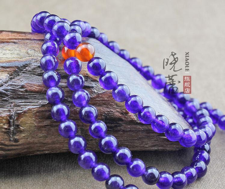 Free Shipping -  Amethyst Mala with Red agate beads  Meditation Yoga 108 Beads P