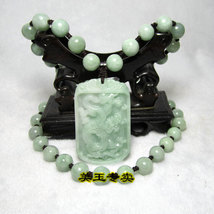 Free Shipping - AAA  Natural green Jadeite Jade carved Dragon charm Pendant / ne - $30.00