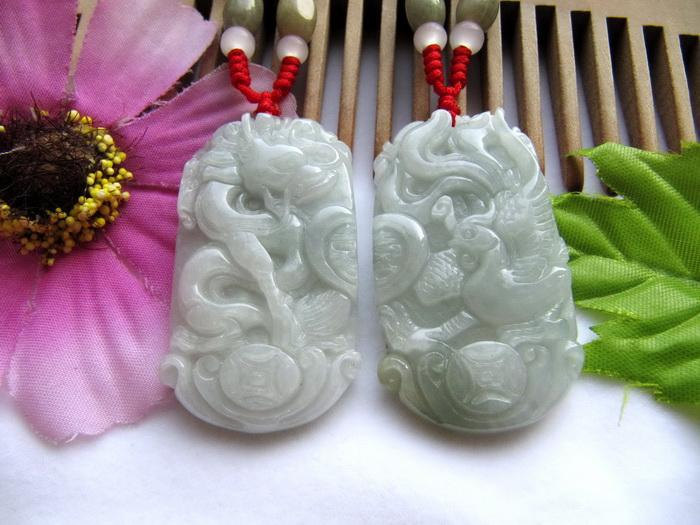 Free Shipping - A pair good luck Gift  Hand - carved dragon Phoenix Natural whit