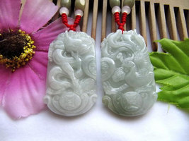 Free Shipping - A pair good luck Gift  Hand - carved dragon Phoenix Natural whit - $30.00