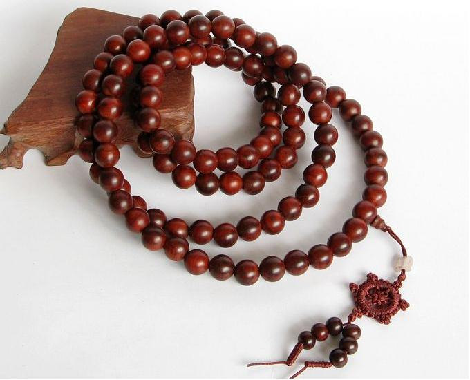 Free Shipping - 8mm Tibetan Natural Red sandalwood  meditation yoga 108 Prayer B