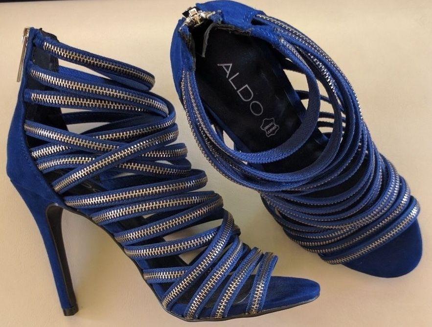 ... US 6M · New ALDO Women's Zippers Heels Royal Blue Open Toe 4