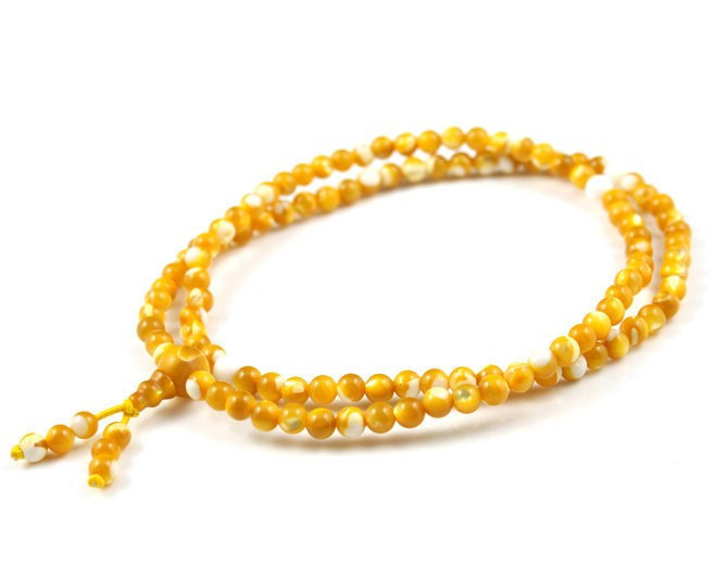Free Shipping - 8 mm Tibetan Natural yellow jade  meditation yoga 108 Prayer Bea