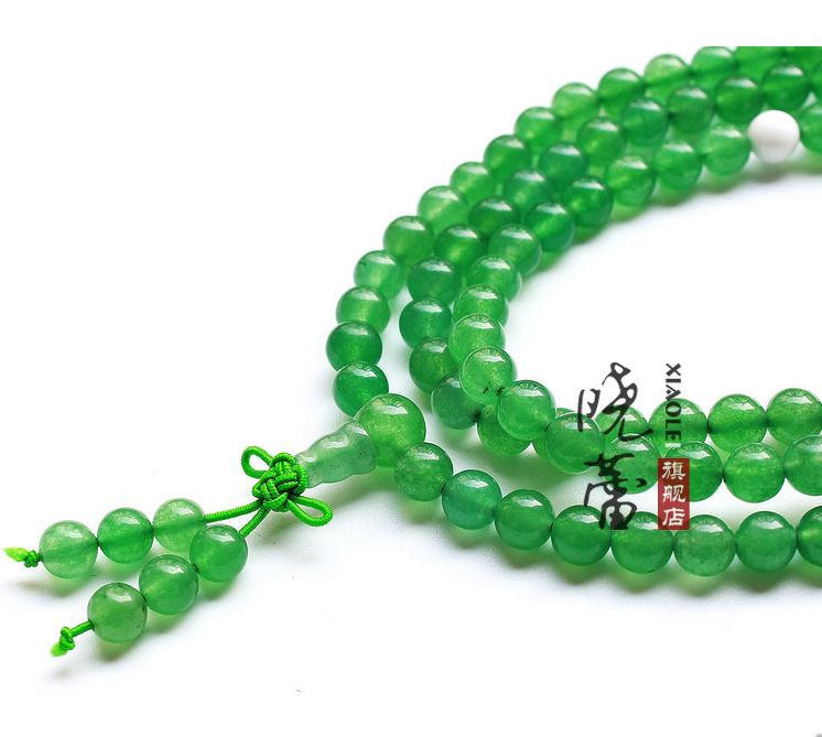 Free shipping -   Aventurine jade Mala natural green Jadeite Jade Yoga Meditatio