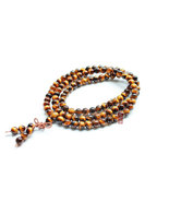 Free Shipping - 8mm Tibetan Buddhism Handcrafted  Natural Tiger EYE stone medita - $33.00