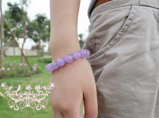 Free Shipping - lovely Natural Purple jade stone Prayer Beads charm bracelet