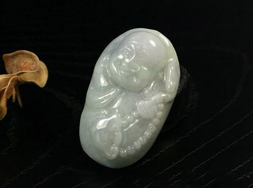 Free Shipping - good luck Amulet Hand carved Natural  Green jade Laughing Buddha