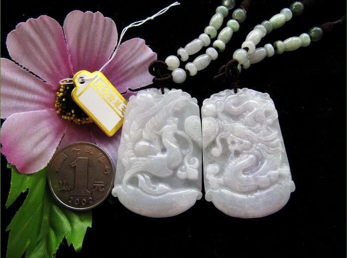 Free Shipping - A pair auspicious  Natural jade carved  dragon Phoenix  white ja