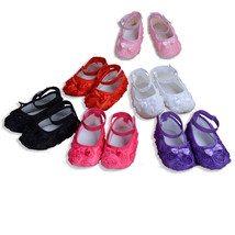 Baby Girls Flower Shoes in White Pink Hot pink Purple Red Black 6 9 12 1... - $9.47