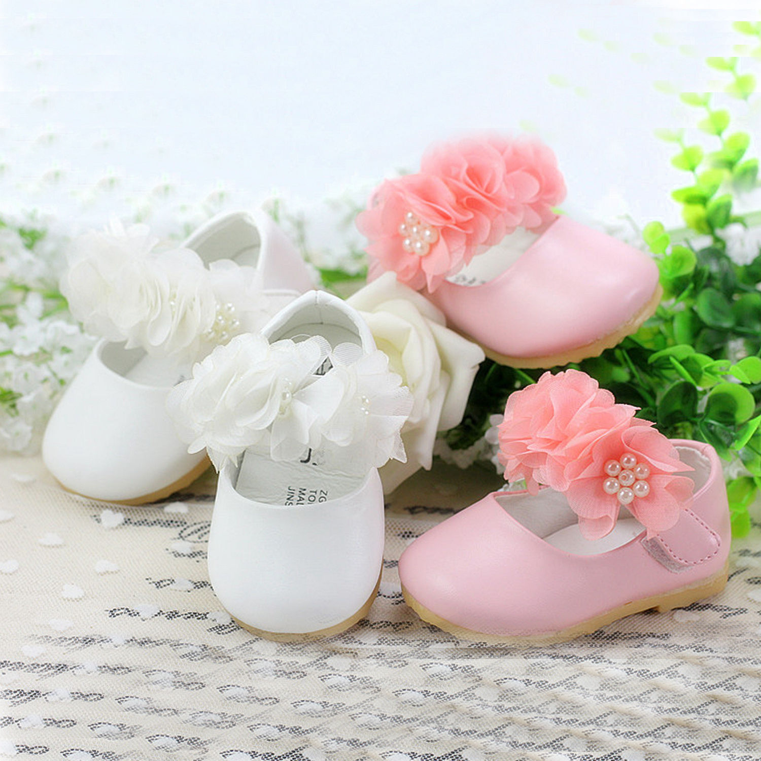 New Baby Girls Satin Christening Shoes Pink Red Lilac 0-3 3-6 6-9 Months