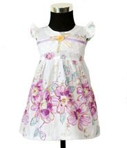 New Baby Girls Floral Cotton Party Dress in Pink,Lilac in 0-3,3-6,6-9 Mo... - $11.99
