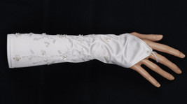 New Fingerless Satin with Beads and Sequins Wedding Gloves in White Ivory - $9.13
