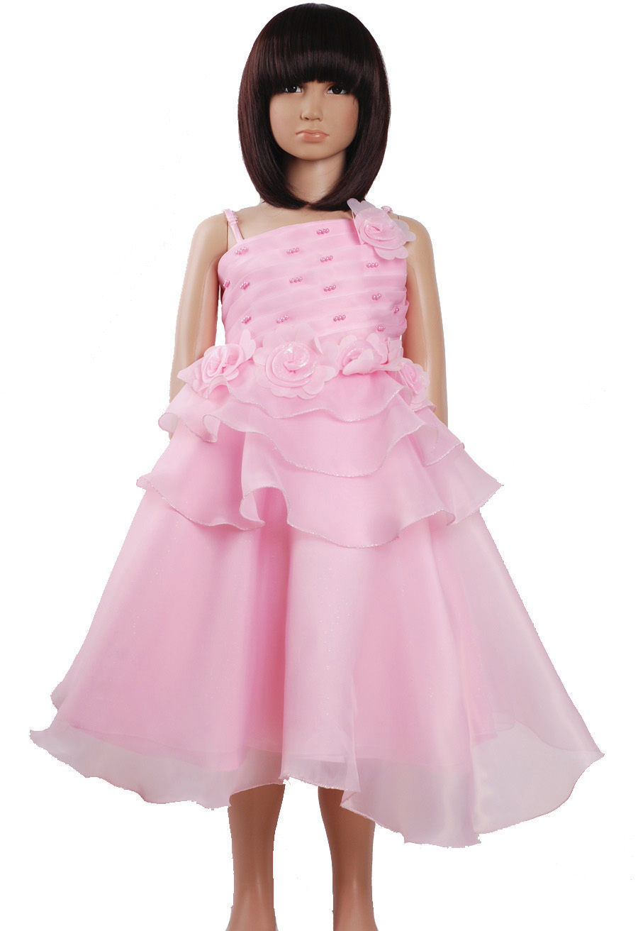 New Flower Girl Party Bridesmaid Pageant Dress In Ivory,Pink,H Pink 2-6 Y+Shawl