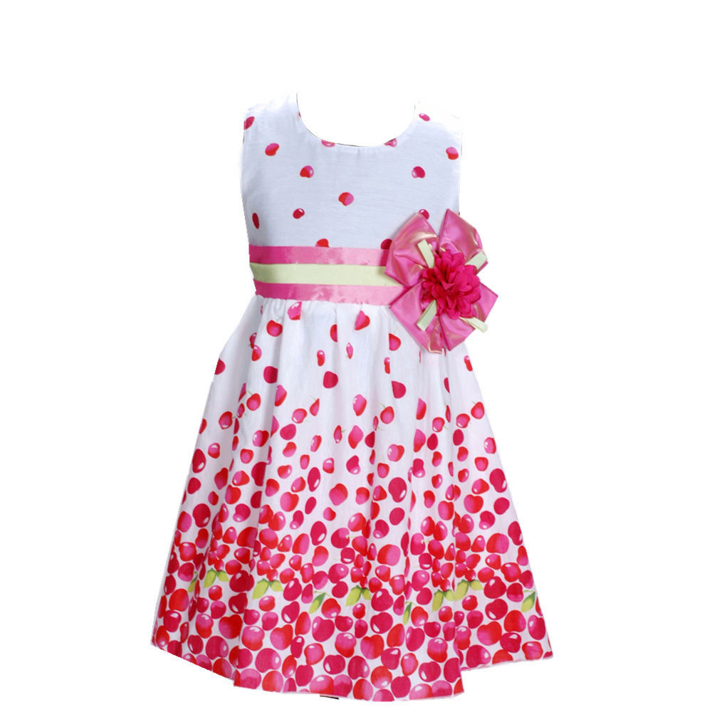 Cinda Girls White and Hot Pink Flower Party Dress in 6 7 8 9 10 Years