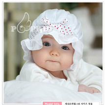 New Girls Christening Bonnet Sun Hat in White, Pink 0-12 Months - $7.82