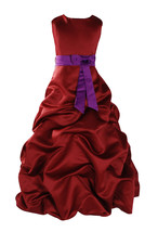 New Flower Girl Party Bridesmaid Pageant Dress 1-13 Y Burgundy+Sash in10... - $40.04+