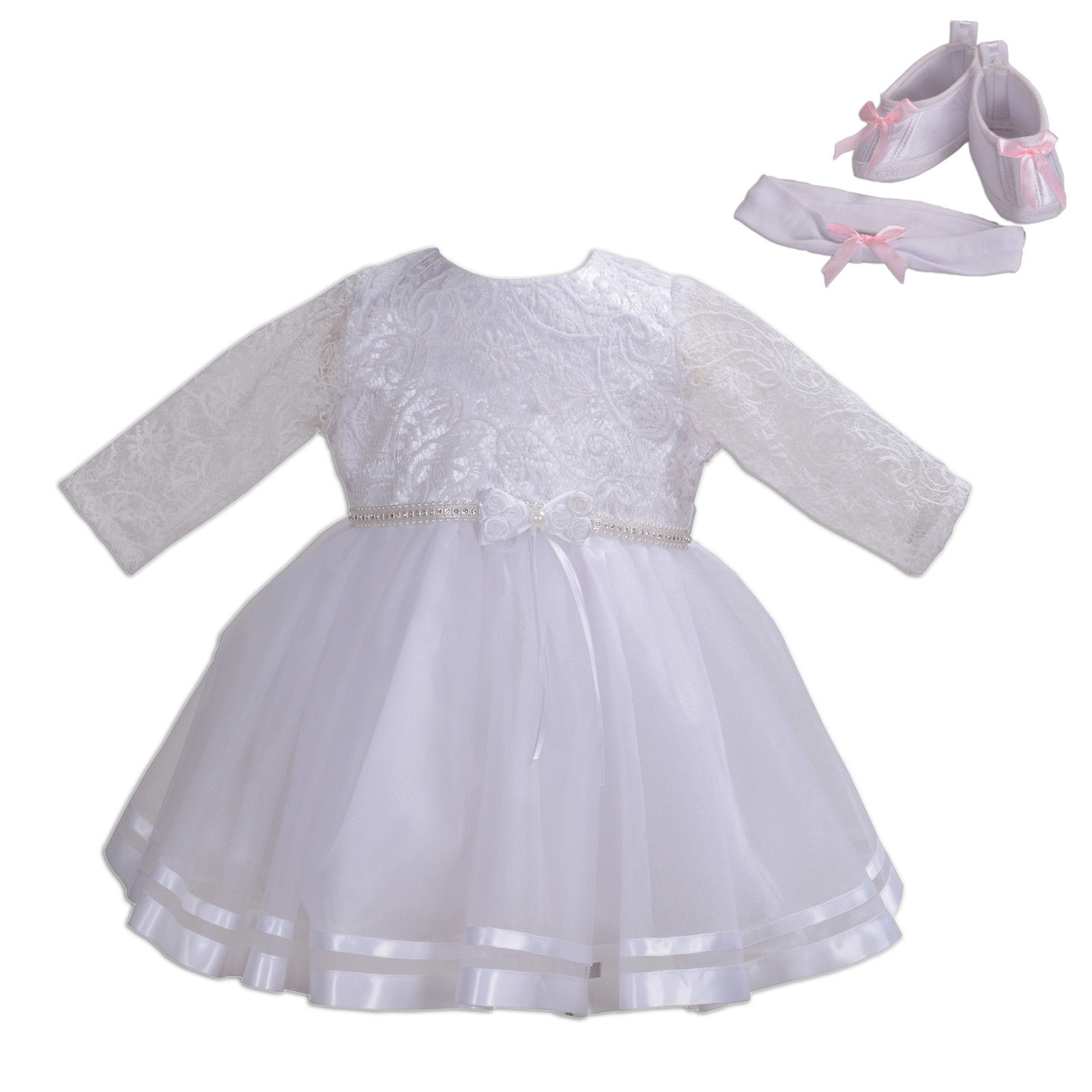 553848eca1fbc S l1600. S l1600. Previous. New Girls Long Sleeves White Christening Party  Dress 0 3 6 12 18 ...