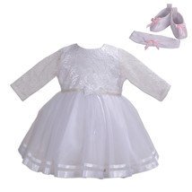 New Girls Long Sleeves White Christening Party Dress 0 3 6 12 18 24 Months - $31.27+