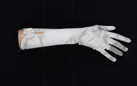 New Satin Wedding Gloves in White Ivory - $8.84