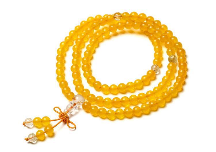 Free Shipping -Tibetan buddhist  Natural Yellow jade Mala with Quartz beads medi