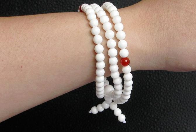 Free Shipping - Tibetan Buddhism Handcrafted natural white jadeite jade Mala wit