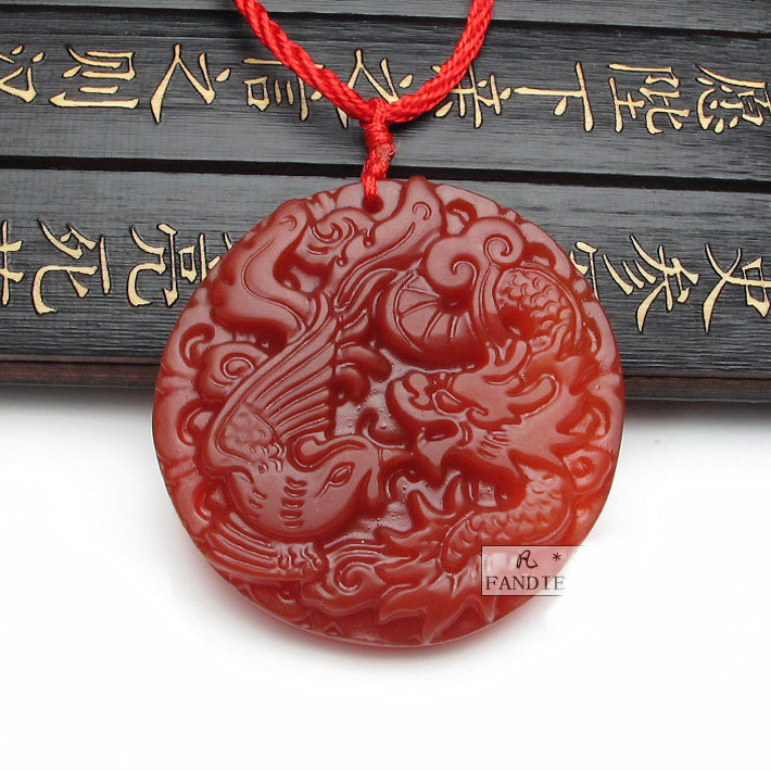 Free Shipping -  good luck NATURAL red agate / Carnelian Carved Dragon Phoenix