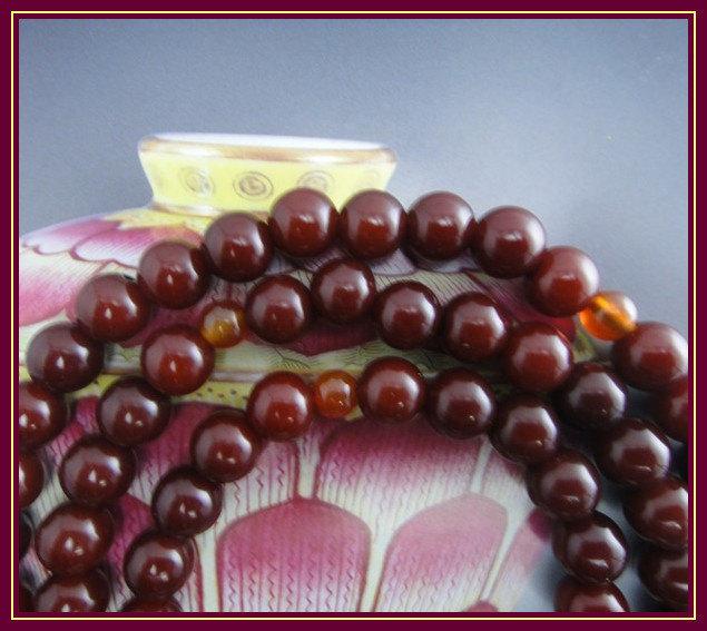Free Shipping -10mm Natural Red sandalwood Mala  Meditation yoga 108 prayer bead