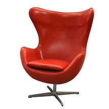 Fabulous Modern Lipstick Red  Leather  Swivel Egg  Rocker Chair,43.25''H. - $985.05