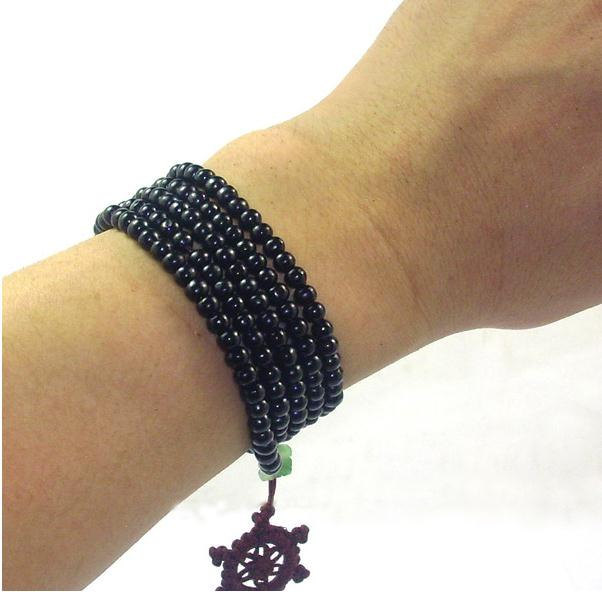 Free Shipping - 216  Beads natural black sandalwood  meditation yoga  Prayer bea