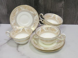 Set of 4 Wedgwood Gold Columbia White Cups and Saucers  - $98.01